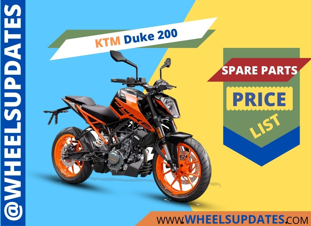 KTM duke 200 spare parts price list in india
