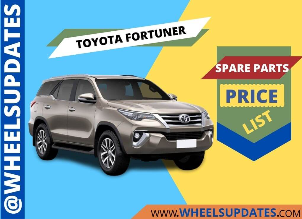 Toyota Fortuner spare parts price list in India