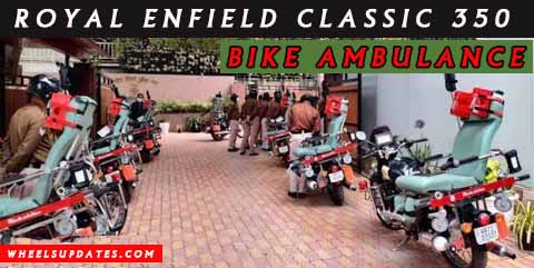 Royal enfield classic 350 customized as bike ambulance in new delhi