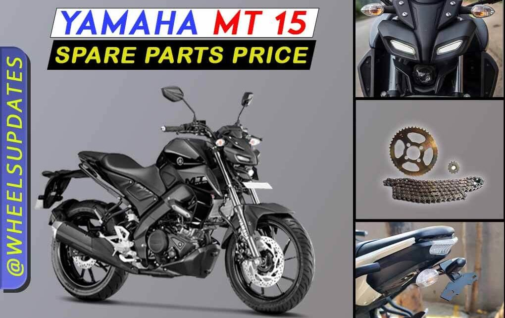 Yamaha MT 15 spare price list in India 2021
